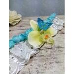 Jarretière mariage Orchidée turquoise fait main
