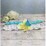Jarretière de mariée Orchidée turquoise mariage papillon