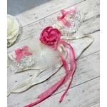 Jarretière mariée dentelle ivoire fleur plume fuchsia