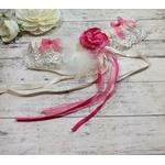 Jarretière mariage romantique rose ivoire dentelle plumes