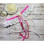 Jarretière de mariée coquillage dentelle blanc fuchsia mariage