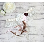 Jarretière de mariée dentelle ivoire fleur mariage champêtre