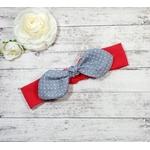 Bandeau headband fille bébé rouge gris sur mesure