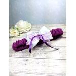 Jarretière mariée romantique violet parme fait main mariage