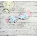 Bandeau cheveux bébé fille fait main sur mesure rose plume bleu