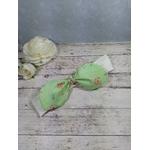Accessoire bébé fille beige vert fleurs fait main