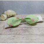Headband fille bébé beige vert fleurs