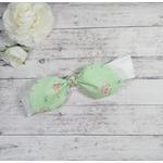 Bandeau cheveux bébé fille beige vert fleurs