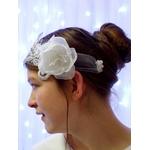 Headband mariée fleur strass dentelle