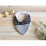 banvoir bandana élastique noir et blanc pois étoile