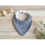 bavoir bandana vichy noir et blanc élastique éponge