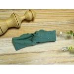 bandeau cheveux bébé fille vert eucalyptus doré fait main