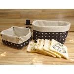 lot corbeilles tissu noir et blanc avec 6 lingettes lavables éponge de bambou