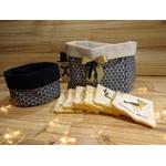 corbeilles et lingettes lavables tissu bleu et doré éponge de bambou