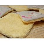 carré coton lavable éponge bambou jaune rose licorne