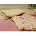 lingettes démaquillantes éponge bambou fleurs rose jaune