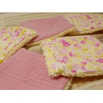 carré éponge lavable fleurs rose jaune