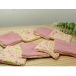 lingettes démaquillantes lavables rose jaune fleurs éponge bambou