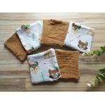 lingettes renard lavables et réutilsables éponge de bambou
