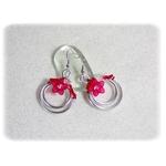 Boucles doreilles rouge et blanc argent fait main fil aluminium