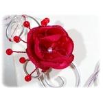 Collier fil aluminium fleur satin strass rouge et argent blanc mariage