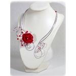 Collier fleur rouge et blanc argent fait main