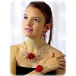 Parure Collier bracelet fleur rouge et blanc argent fait main 1