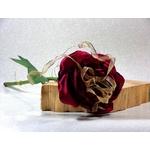 Rose rouge tige fleurs artificielle fait main satin