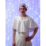 Cape de mariée polaire blanc chaude hiver