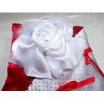 Coussin alliance satin rouge argent gris blanc plumes perles fait main