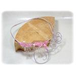 Collier rose et argent en fil aluminium 1