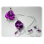 Parure fil aluminium fleur arenté violet