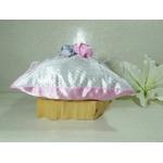 Coussin porte alliances romantique papillon rose gris blanc