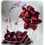 bouquet mariée panier rond papillon fleurs tissu fait main personnalisé