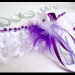 Jarretière mariage plumes fleurs fait main