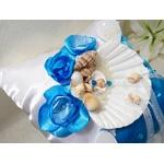 Coussin pour alliances coquillage blanc turquoise satin
