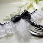 jarretière mariée dentelle noir et blanc