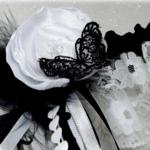 Jarretière de mariée dentelle papillon plume