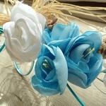 Bouquet de mariée bleu et blanc fil aluminium
