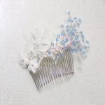 Coiffe mariage dentelle de Calais cristaux Swarovski ivoire bleu turquoise