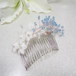 Bijoux de cheveux mariage turquoise ivoire dentelle Swarovski
