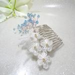 Peigne cheveux mariage ivoire turquoise cristal