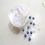 Peigne fleur mariage dentelle cristal perles