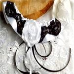 Jarretière satin noir et blanc