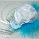 Peigne cheveux mariage plumes fleurs personnalisé