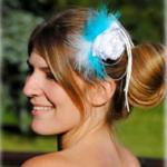 Peigne pour mariage plumes fleurs personnalisé