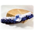 Jarretière de mariage satin dentelle bleu et blanc