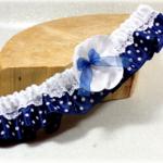 Accessoire mariage rétro vintage bleu à pois satin dentelle fait main