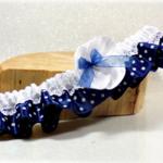 Jarretière mariage rétro vintage satin dentelle bleu