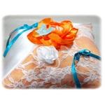 Coussin dalliance papillon turquoise blanc orange